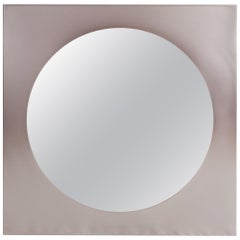 Post-modern Mirror in Brushed Steel, 1980s Belgo Chrom