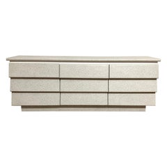 Postmodern Nine-Drawer Dresser or Chest of Drawers, Granite and White Mica