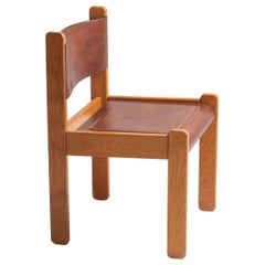 Postmodern Oak and Leather Dining Chairs