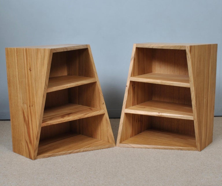 Post-Modern Oak Nightstands, Hand-Crafted End Tables  7
