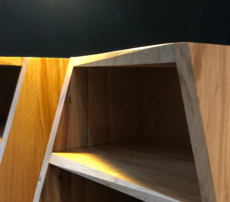 Post-Modern Oak Nightstands, Hand-Crafted End Tables  8