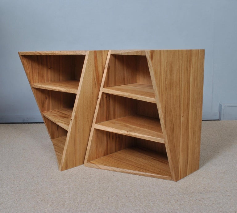 English Post-Modern Oak Nightstands, Hand-Crafted End Tables