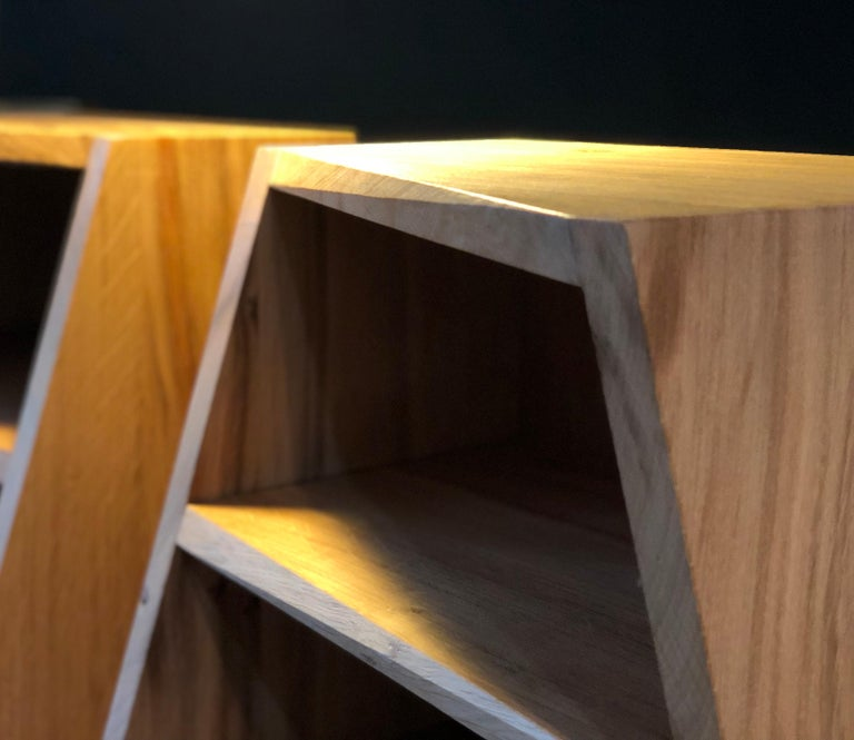 Contemporary Post-Modern Oak Nightstands, Hand-Crafted End Tables