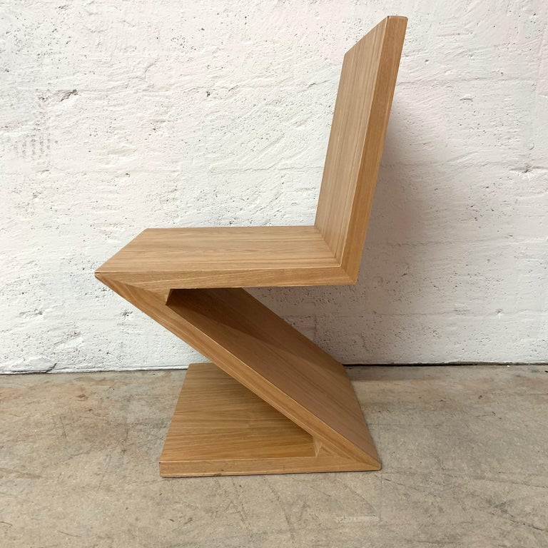 Postmodern zig zag chair rendered in wood with an oak veneer, USA, 1980s.