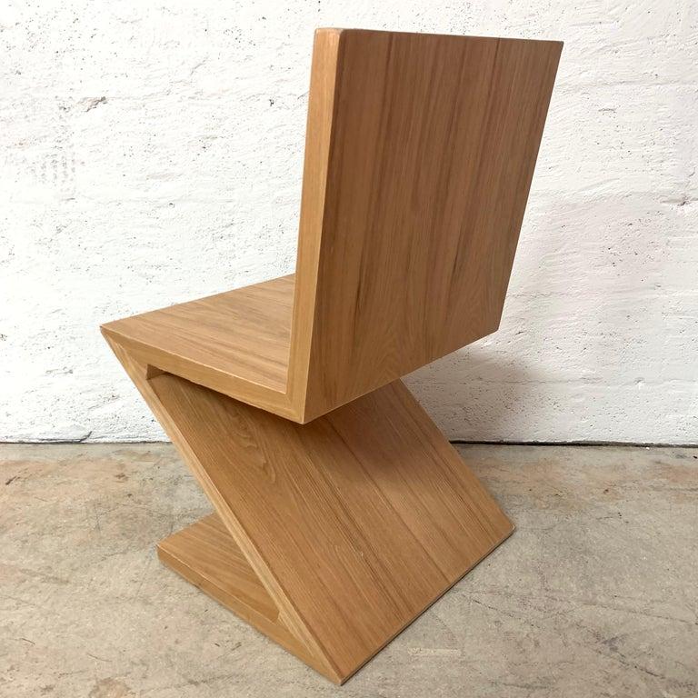Post-Modern Postmodern Oak Zig Zag Chair, USA, 1980s For Sale