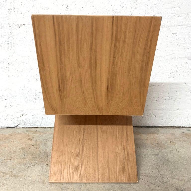 American Postmodern Oak Zig Zag Chair, USA, 1980s For Sale