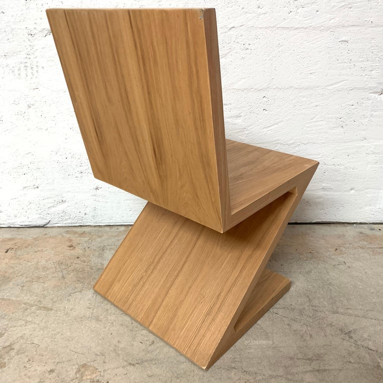 Veneer Postmodern Oak Zig Zag Chair, USA, 1980s For Sale