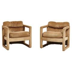 Post Modern Open Arm Barrel Chairs, 1970