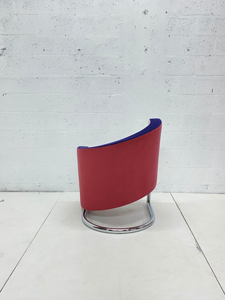 American Post Modern Opposing Club Chairs with Tubular Chrome Bases by Westnofa, a Pair For Sale