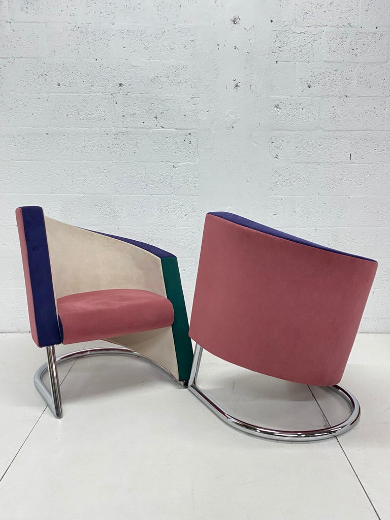 Late 20th Century Post Modern Opposing Club Chairs with Tubular Chrome Bases by Westnofa, a Pair For Sale