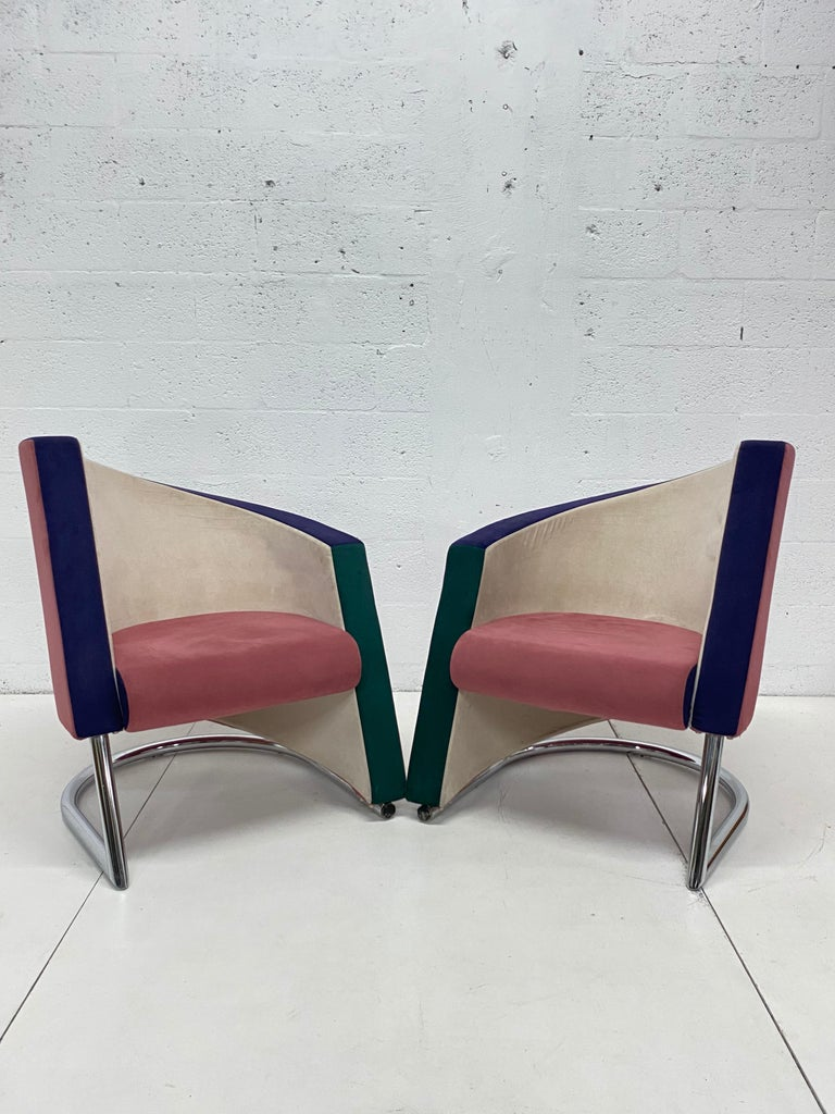 Formica Post Modern Opposing Club Chairs with Tubular Chrome Bases by Westnofa, a Pair For Sale