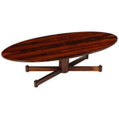 Brazilian Mid-Century Modern Rosewood Oval Coffee Table, Brazil 1950s