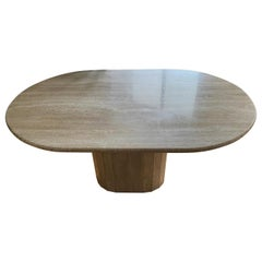 Post Modern Oval Cream Travertine Dining Table, Italy, 1970