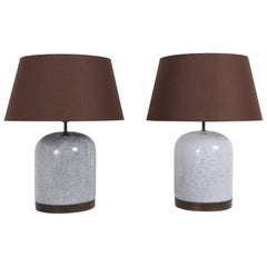 Post-Modern Pair of Black & White Speckled Ceramic Lamps with Brown Shades