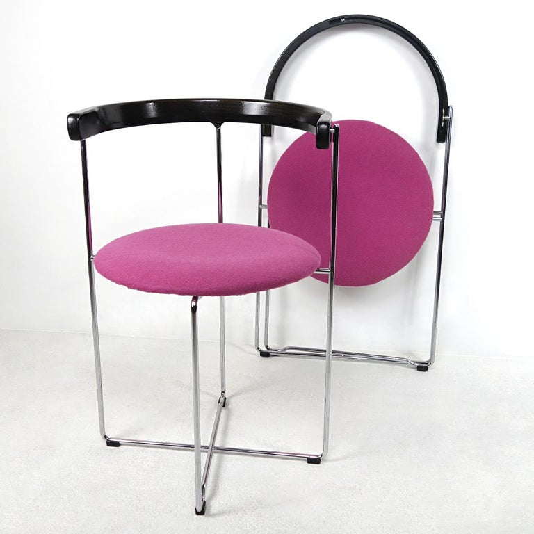 Post-Modern Pair of Sóley Folding Chairs by Valdimar Hardarson for Kusch+Co. For Sale 5