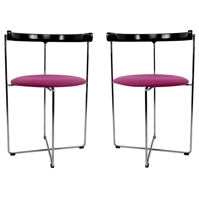 Post-Modern Pair of Sóley Folding Chairs by Valdimar Hardarson for Kusch+Co. For Sale