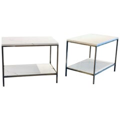 Postmodern Pair of Solid Italian Marble with Steel Frames End Tables