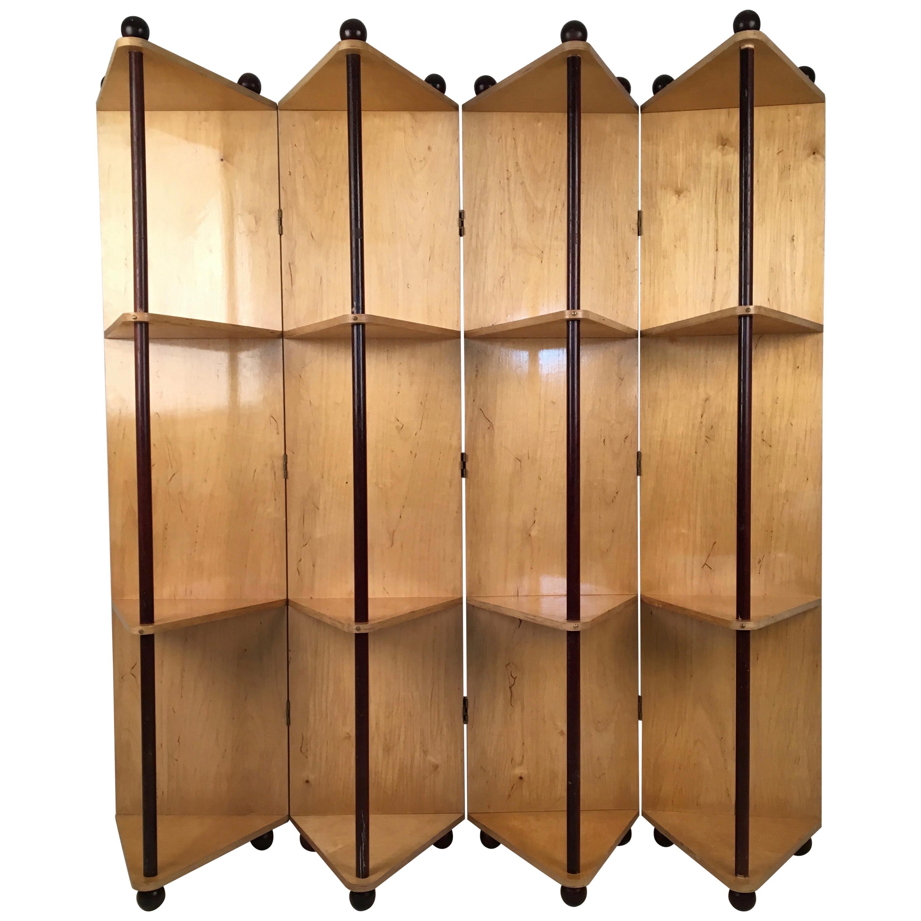 Postmodern Plywood Prototype Metamorphic Shelving Room Divider Circa 1980