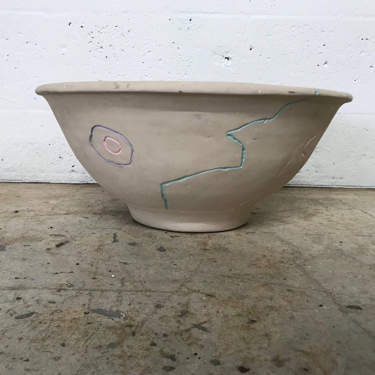 Hand-painted pottery centerpiece bowl or fruit bowl.