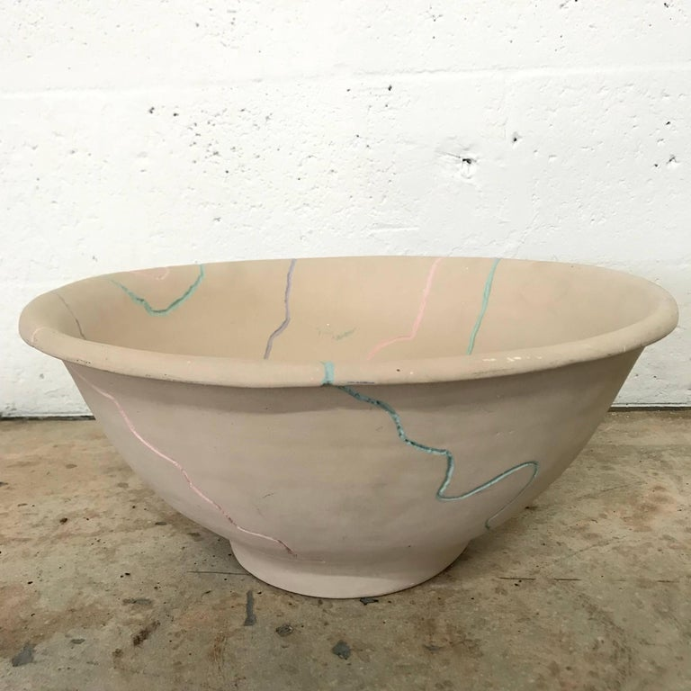 Hand-Painted Postmodern Pottery Centrepiece Bowl or Fruit Bowl For Sale