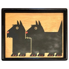 Postmodern Print on Wood 1984 by Taylor & NG Terrier Dogs