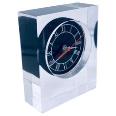 Postmodern Rare Solid Lucite Desk/Mantel Clock by Junghams