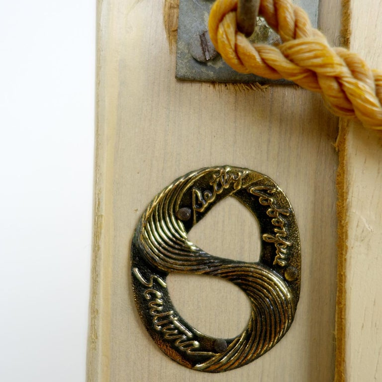 20th Century Postmodern Rattan Mirror in the Shape of a Ribbon with Bow by Betty Cobonpue For Sale