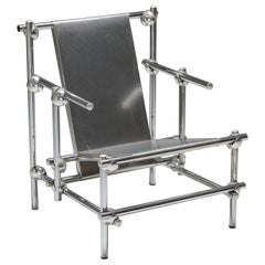Postmodern Rietveld Style Chromed Metal Lounge Chair