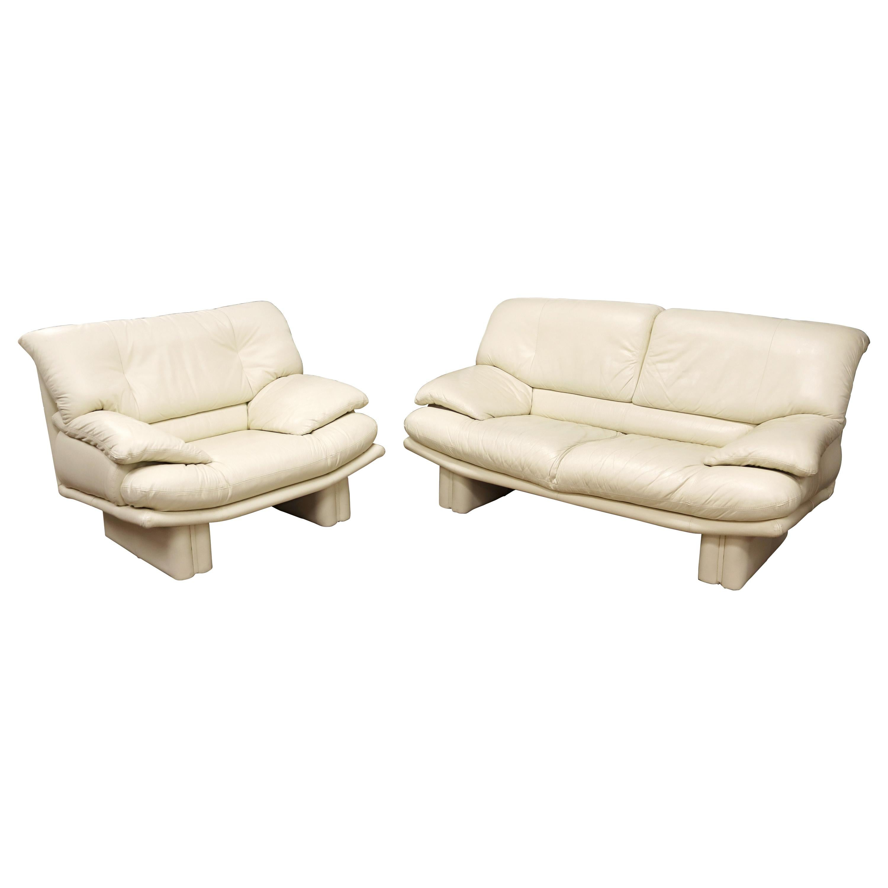 Post Modern Roche Bobois 2 Piece Draped Leather Sofa Loveseat with Chair