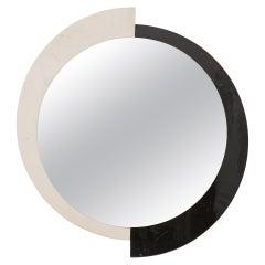 Postmodern Round Black and White Marble Mirror