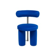 Post-Modern Round Boldly Dining Chair in Fabric and Stainless Steel by Iz-Type