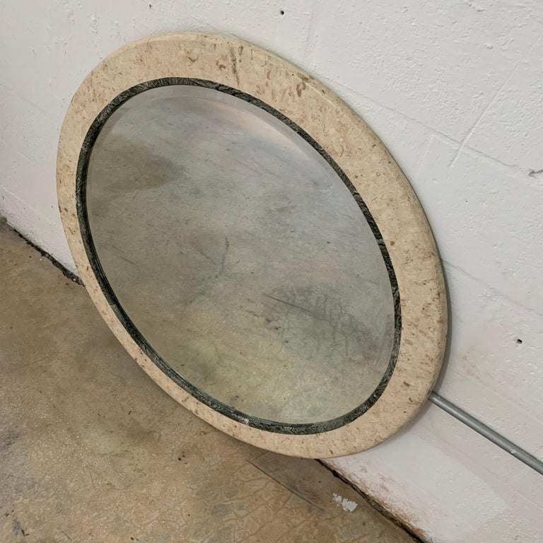 Philippine Postmodern Round Maitland Smith Two-Tone Marble and Travertine Beveled Mirror For Sale