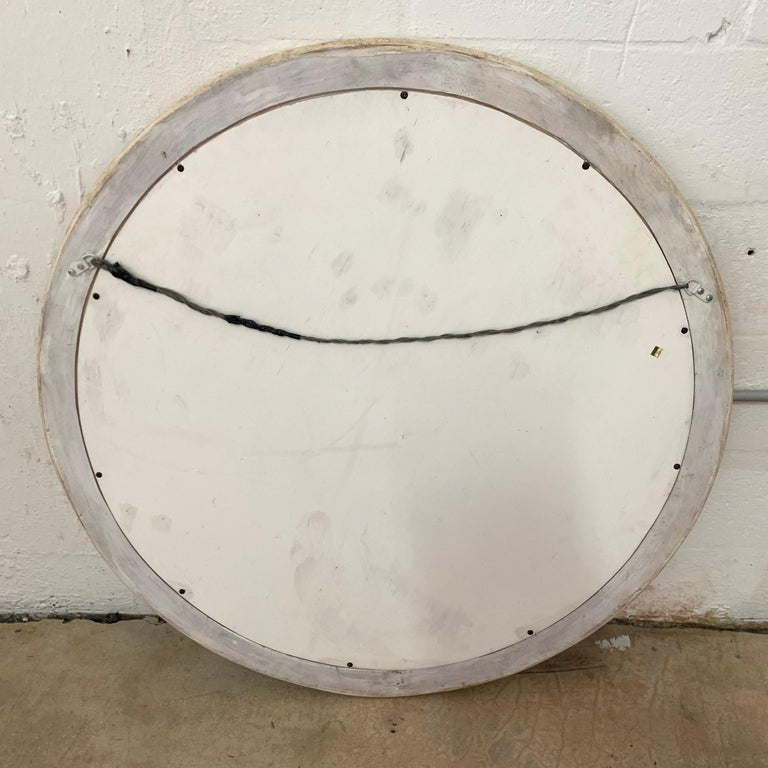 Postmodern Round Maitland Smith Two-Tone Marble and Travertine Beveled Mirror For Sale 1