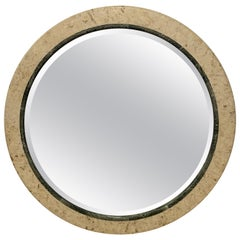 Postmodern Round Maitland Smith Two-Tone Marble and Travertine Beveled Mirror