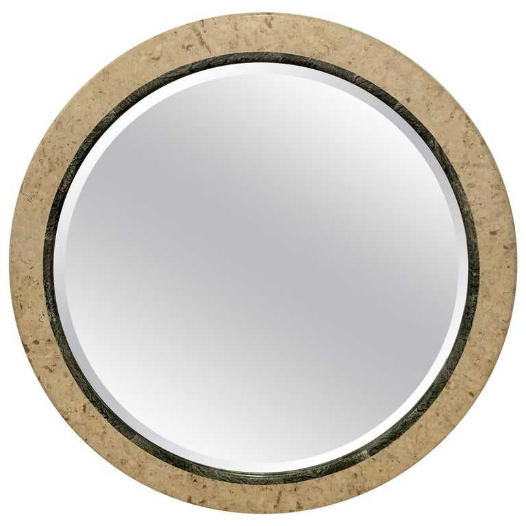 Postmodern Round Maitland Smith Two-Tone Marble and Travertine Beveled Mirror For Sale