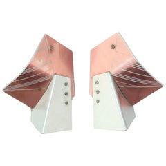 Post Modern Sculptural Anodized Pink Aluminum Earrings, 1980's