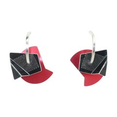 Post Modern Sculptural Anodized Red & Black Aluminum Earrings, 1980's