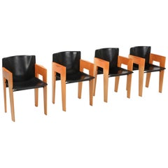 Arco Sculptural Leather and Wood Chairs