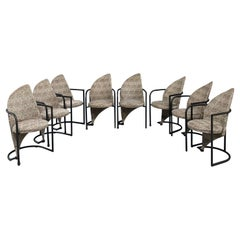 Post Modern Set of Eight Dining Chairs in Iron and Cheetah Print Mid Century