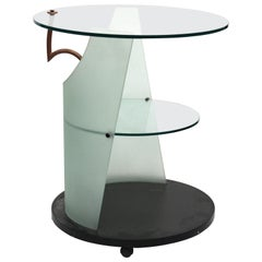 Postmodern Side Table or Serving Cart on Casters