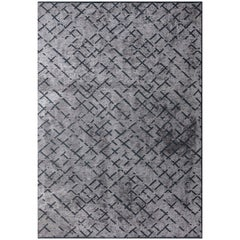 Post Modern Silver Abstract Allover Pattern Rug with or without Fringe