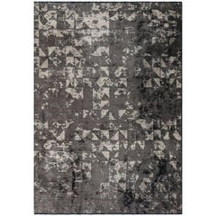 Post Modern Silver Gray Beige Abstract Rug with or without Fringe