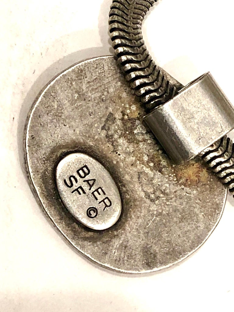 American Postmodern Silver Hammered Pendant, Necklace by Marjorie Baer California Design For Sale