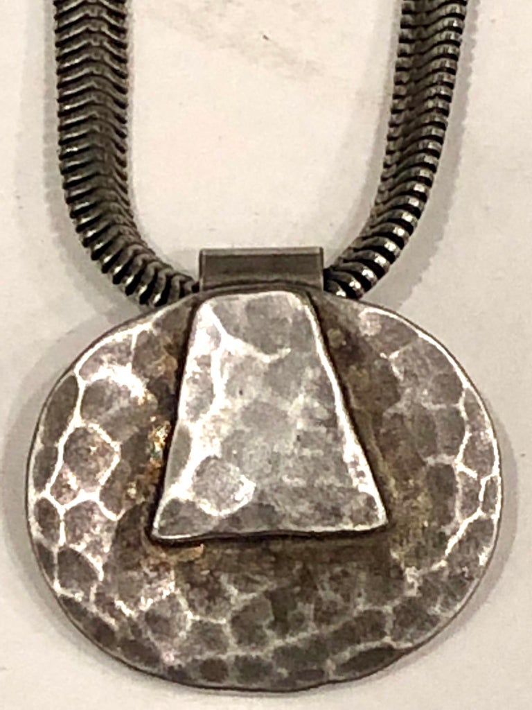 20th Century Postmodern Silver Hammered Pendant, Necklace by Marjorie Baer California Design For Sale