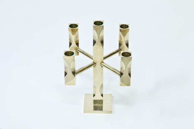 Solid brass candelabra produced by Vallonmässing in Sweden during the 1980s.