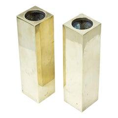 Postmodern Solid Brass Vases, Sweden, 1970s