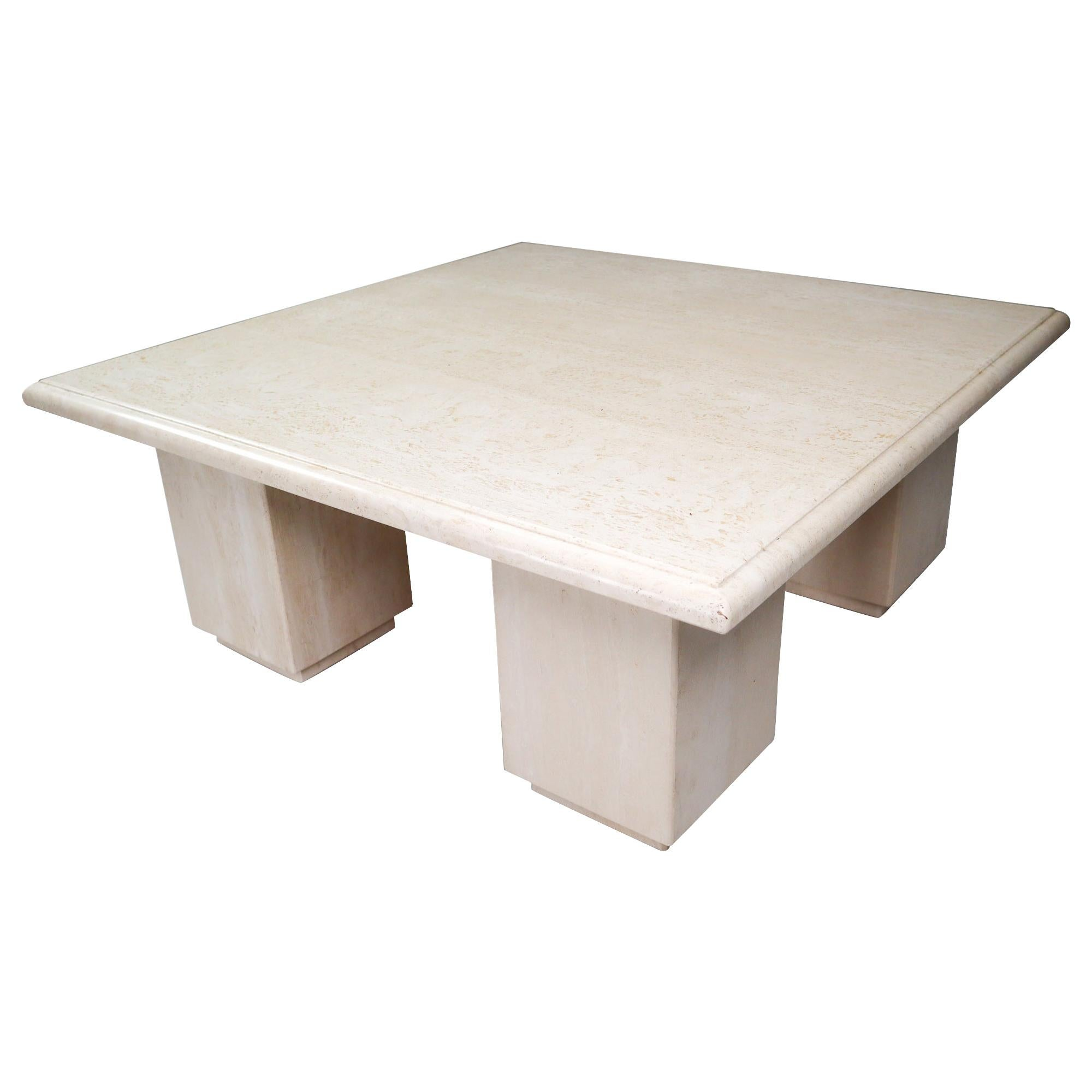 Post-Modern Square Travertine Coffee Table, Italy, 1970s