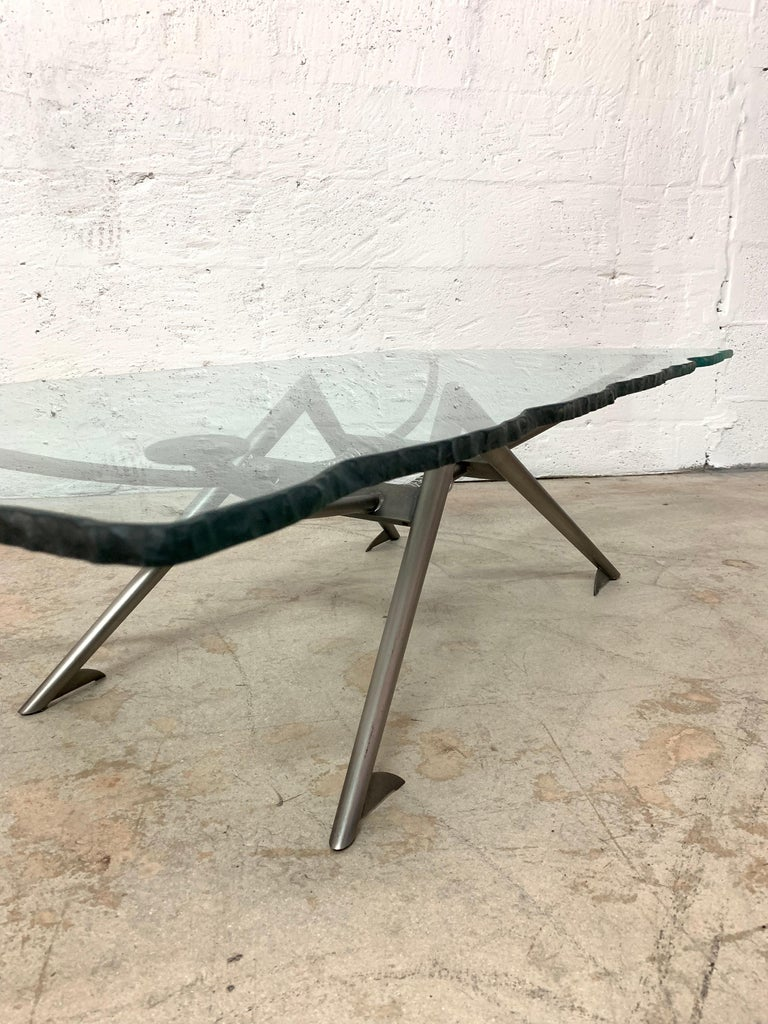 Postmodern Steel and Glass Coffee or Cocktail Table For Sale 4