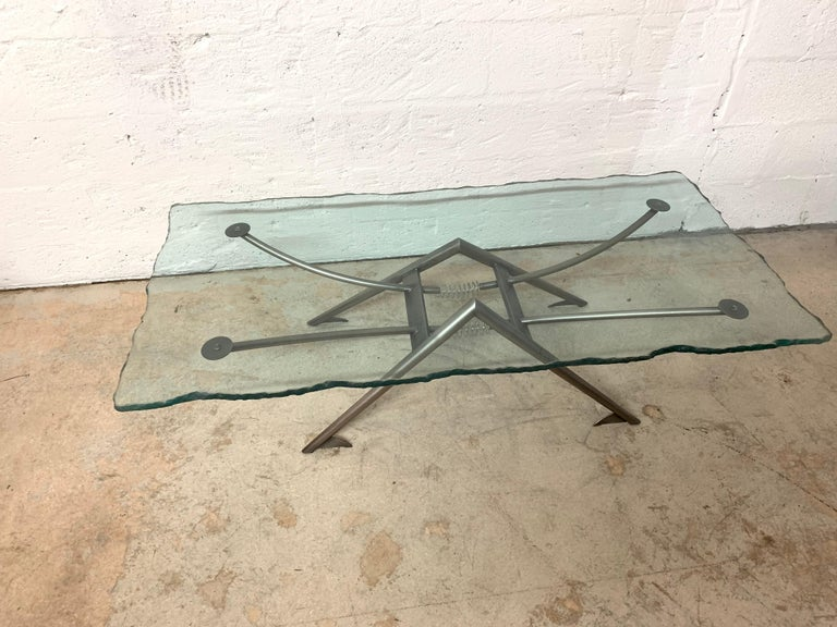 Post-Modern Postmodern Steel and Glass Coffee or Cocktail Table For Sale