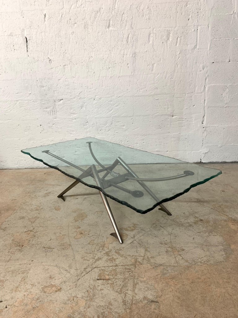 20th Century Postmodern Steel and Glass Coffee or Cocktail Table For Sale